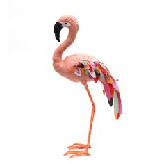This beautiful flamingo stands at 34cm tall. He is made entirely by hand, by Abigail Brown, from both new and reused materials. He is both machine ...