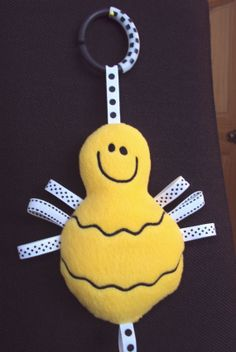 Bumble Bee Baby softie toy with lots of ribbon by PJSEMBROIDERY