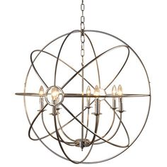 Update your home with this unique mini chandelier by Yosemite Home decor. The Shooting Star Collection features a contemporary chandelier in a satin nickel plated finish. Item Code this chandelier looks like an atom with its m. Chandeliers, Globe Chandelier, Globe Pendant, Modern Chandelier, Chandelier Lighting, Modern Lighting, Hallway Chandelier, Light Pendant, San Juan