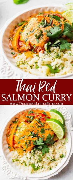 Red Curry Salmon is a quick and easy meal with big flavor that can be made in just 30 minutes. Oven-roasted chunks of salmon are combined with a delicious red curry-based sauce. Strips of shallot and peppers are added to make this a complete meal, although you can definitely enjoy it over rice or cauliflower rice to keep it low carb and keto friendly. | #salmonrecipes #salmoncurry #curry #coconutcurry #thaicurry