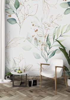 Vinyl Wallpaper, Peelable Wallpaper, Self Adhesive Wallpaper, Fabric Wallpaper, Peel And Stick Wallpaper, Adhesive Vinyl, Wallpaper For House, Leaves Wallpaper, Hand Painted Wallpaper