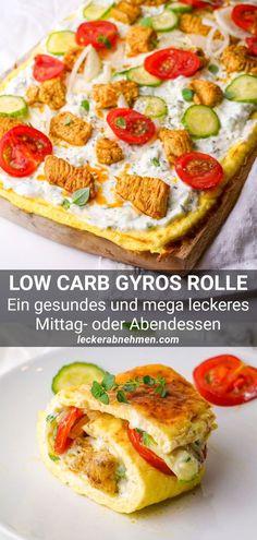 Unsere Low Carb Gyros Rolle ist ein gesundes Abendessen zum Abnehmen. Sieh dir hier das griechische Rezept an, welches sich auch für ein schnelles Mittagessen eignet. Cena Keto, A Food, Food And Drink, Keto Dinner, Keto Snacks, Food Items, Easy Dinner Recipes, Dinner Ideas, Dessert Recipes