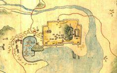 Busan Fortifications and Harbor 1872년 지방지에서 본 부산진성의 모습으로 4대문의 모습이 다 보이고 부산진성안에 자성대왜성의 모습까지 그려져 있습니다. 출처:부산진성 11(부산진성의 형태) 팬저의 국방여행 : 부산진성 11(부산진성의 형태)