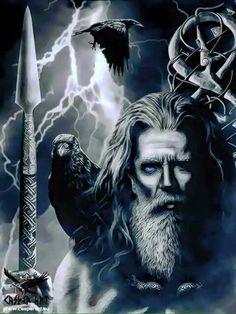 Odin holding Gungnir while Huginn and Muninn observe. Norse Pagan, Old Norse, Norse Mythology, Viking Warrior, Viking Art, Norse Tattoo, Viking Tattoos, Tattoo Symbols, Thor