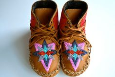 Childrens handmade leather beaded woollined by needleheadcrafts, $160.00