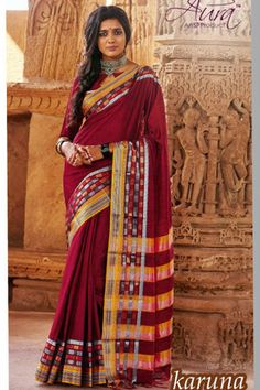 Online Shopping of Maroon Cotton Printed Party Wear Saree-Karuna from SareesBazaar, leading online ethnic clothing store offering latest collection of sarees, salwar suits, lehengas & kurtis Chiffon Saree, Cotton Saree, Cotton Silk, Designer Sarees Collection, Saree Collection, Party Wear For Women, Red Saree, Sari, Saree Shopping