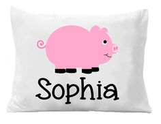 Pink Pig Pillowcases , Girls Personalized Pillowcase , Kids Bedding Pillow Cases , Kids Personalized Pillow Cases by The Trendy Butterfly Image is Directly Printed on the Pillow Case, these are not Heat Transfers! Personalized Pillow Cases, Custom Pillow Cases, Monogram Pillowcase, Pig Girl, Kids Birthday Gifts, Room Themes, Bed Pillows, Bedding