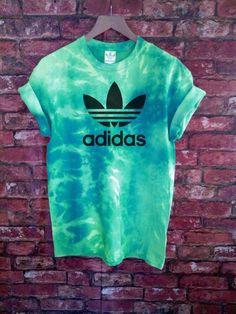 Unisex Authentic Adidas Originals Tie Dye Teal T-shirt S-XXL #adidas #BasicTee