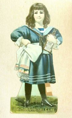 """""""I TALK FOR DR. MILES HEART CURE"""" Paper Doll Named Edith, 1899, with 3 from designer69 on Ruby Lane"""