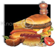 Burger, Hot Dog, Sausages on a Roll