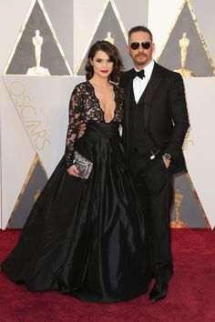 Best: Tom Hardy (who accessorized like a boss with aviators and a pocket watch) with Charlotte Riley at the 88th Academy Awards on Feb. 28, 2016 in Hollywood, California.