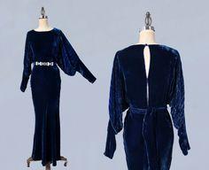 RESERVED 1930s Dress / AMAZING Blue 30s Silk Velvet Gown / Provenance / HUGE Sleeves! / Bias Cut
