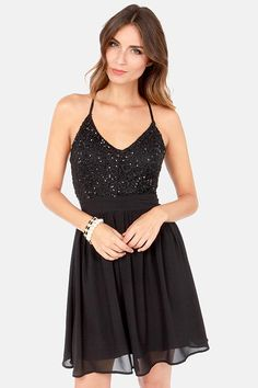 Stellar Starlight Black Sequin Dress at LuLus.com!