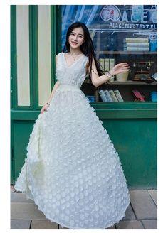 High Quality V-neck Elastic Waist Stereo Flowers Princess Dress_Fcplaza.com