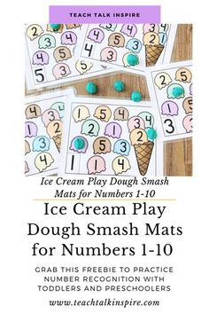 FREEBIE!  Ice Cream Play Dough Smash Mats for Numbers 1-10.  Use these ice cream play dough smash mats to help your toddler and preschooler recognize numbers 1-10.  Pair these mats with play dough for a fun and hands-on way to help your child recognize numbers.  Sign up for our email list to get this freebie sent straight to your inbox.