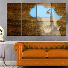 DesignArt 'Africa Wildlife Map Design' 4 Piece Graphic Art on Canvas Set