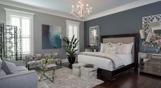 Navy Accent Wall White Trim Light Curtains With Dark