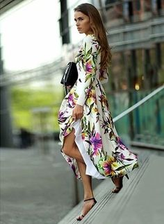 Polyester Floral Long Sleeve Maxi Vintage Dresses