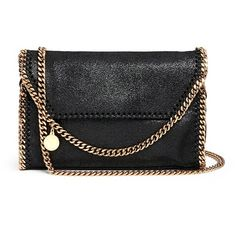 Stella Mccartney 'Falabella' mini shaggy deer crossbody chain bag (£570) ❤ liked on Polyvore featuring bags, handbags, shoulder bags, black, chain purse, stella mccartney crossbody, chain handbags, mini purse and crossbody purse