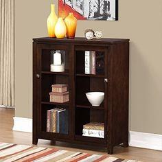 NEW Simpli Home Cosmopolitan Medium Storage Cabinet, Coffee Brown #SimpliHome