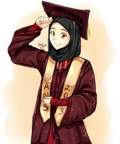 Muslimah anime_graduate ^_^ I think maybe i will become this, InyaAllah hijab Hijab Drawing, Manga Drawing, Muslim Girls, Muslim Women, Muslim Couples, Hijab Anime, Wallpaper Hp, Islamic Cartoon, Girly M