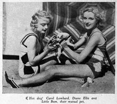 0 Carole Lombard & Ms Diane Ellis with puppy on the beach