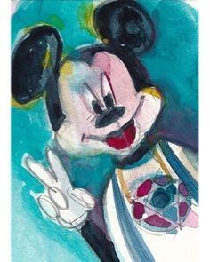 "#RIFKIN ""#RABBI #MICKEY MOUSE"" Original #ACEO Watercolor 2.5 x 3.5"