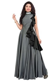 online clothes shopping portal for Women's. Indian Ethnic Wear such as sarees, salwar suit, lehenga and gowns are at affordable rates. Indian Gowns Dresses, Prom Dresses With Sleeves, Simple Dresses, Indian Designer Outfits, Designer Gowns, Latest Gown Design, Kurti Designs Party Wear, Dress Designs, Blouse Designs