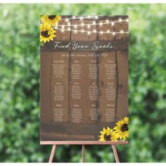 Personalised Rustic barrel,Sunflowers and Fairy Lights Wedding Table / Seating Plan Wedding Reception Venues, Wedding Reception Decorations, Table Wedding, Wedding Welcome Board, Rustic Wedding Seating, Fairy Lights Wedding, Wedding Save The Dates, Personalized Wedding, Wedding Stationery