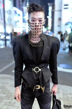 """tokyo-fashion: """"18-year-old fashion student Kyosuke on the street in Harajuku wearing a chainmail veil by House of Malakai with YSL pants and Hiro x George Cox boots. Full Look """""""