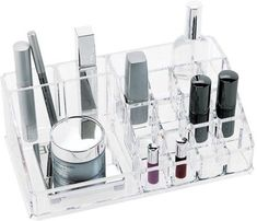 Haven't organized your beauty products yet? From now on this is possible with the Fashion Makeup Organizer with 16 compartments. This make-up organizer will significantly ease the make-up process by keeping your eyes on your . Makeup Display, Cosmetic Display, Cosmetic Storage, Makeup Storage, Makeup Organization, Organization Station, Cosmetic Organiser, Storage Hacks, Clear Acrylic Makeup Organizer
