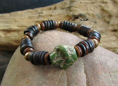 Real Turquoise  Coconut  Wood Beaded Bracelet / by cainersbliss