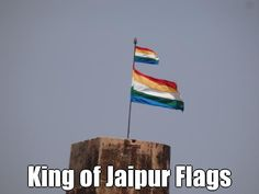http://www.davidstours.com.au Both flags are up (The Indian National Flag and the King of Jaipur's Flag) means that the king is in town.