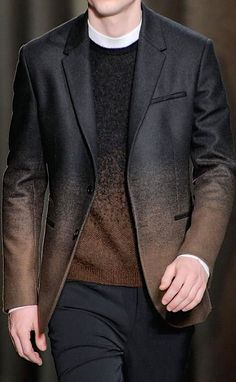 Black and Brown Ombre Jacket and Sweater. Men's Fall Winter Fashion.