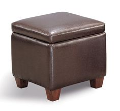 Brown Cube storage ottoman in leather like vinyl - http://www.furniturendecor.com/brown-cube-storage-ottoman-in-leather-like-vinyl/- Related categories: Furniture, Home and Kitchen, Living Room Furniture, Ottomans