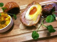 Trio of Wharfedale Pig- glazed pork belly, black pudding sausage roll and scotch egg #DevonshireArms #Brasserie #Yorkshire #YorkshireDales #BoltonAbbey #pork #sausageroll #scotchegg #localproduce #BoltonAbbey #restaurant #locallysourced #food #foodie #travel #countryside #hotel