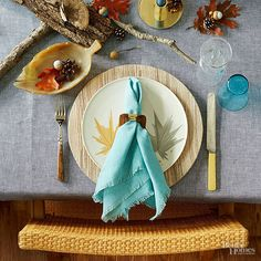 Whether it's for Thanksgiving dinner or a weekend brunch with friends, set a gorgeous table with ease using this formula: Mix old and new, weave a theme of texture throughout your items, add in touches of nature, and, for a thoroughly modern take, incorporate hints of blue./