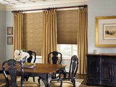 Interior, Honeycomb Window Shades With Gold Accent Curtains Classic Black Wood Dining Chairs With Large Wood Top Table Big Nature Photography With Gold Tone Frame  Classic Cabinetry System In Black ~ 4 Styles of Window Coverings for Large Windows