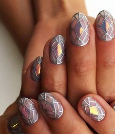Stained glass window inspired nail art @sohotrightnail