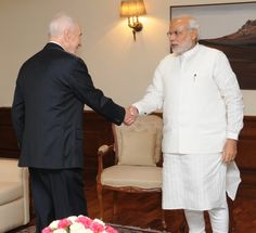 Prime Minister Shri Narendra Modi received today His Excellency Mr. Shimon Peres, Former President of Israel. Shimon Peres congratulated the Prime Minister on his victory in the electio President Of Israel, Former President, Shimon Peres, Prime Minister, Civilization, Men's Clothing, Presidents, Bright, Culture
