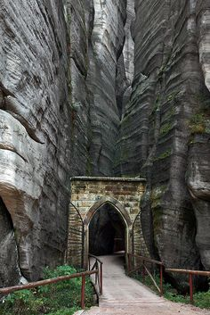 The gothic gate to Adršpach-Teplice Rocks in northeastern Bohemia, Czech Republic