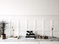 love this ! marble / brass / books / white