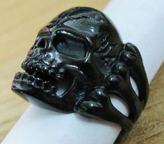 Black Bone Skull Ring