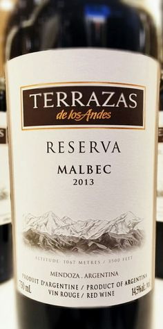 Terrazas de los Andes Reserva Malbec 2013 - DO Mendoza (Argentina) - Bodega Terrazas de los Andes - Vino tinto con crianza, envejecido durante 14 meses en barricas de roble francés, un tercio nuevo y el resto de segundo y tercer uso - 100% Malbec - 14,5%