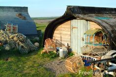 Upside down fishing boat shed