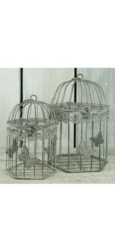 Metal Butterfly Cages, Set Of 2 @ rosefields.co.uk