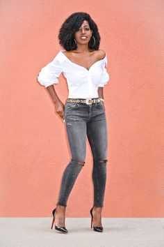 Collared Off Shoulder Button-Up + Ripped Faded Jeans Black Off Shoulder, Off Shoulder Blouse, Afrocentric Clothing, Cute Fashion, Womens Fashion, Style Pantry, Faded Jeans, Instagram 4, Fashion Pictures