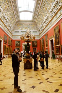 A red room in the State Hermitage Museum in St. Petersburg