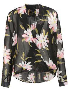 Black Long Sleeve Flowers Print Wrap Front Blouse - Sheinside.com