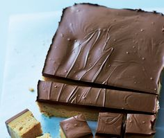 sliced shortbread cake with chocolate icing